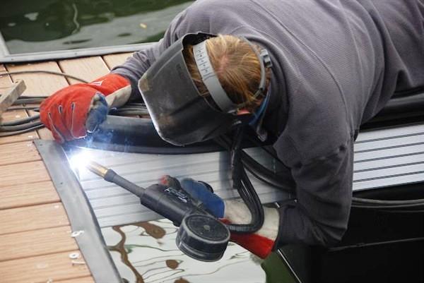 all welded construction, custom built dock, floating boat docks