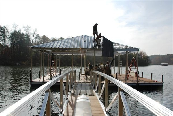 roof panels, re-decking dock, refurbishing dock, dock relocation, PVC decking