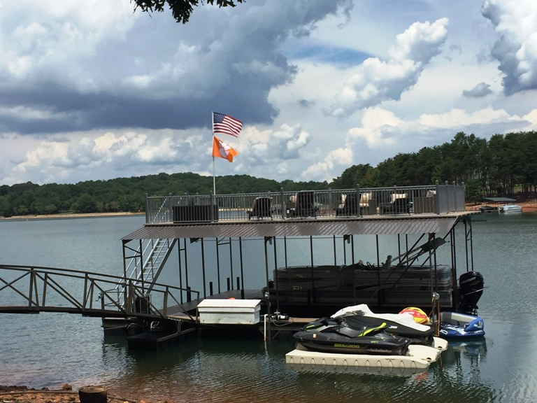 Clemson football, lake living, boat dock, Clemson tigers, dock accessories
