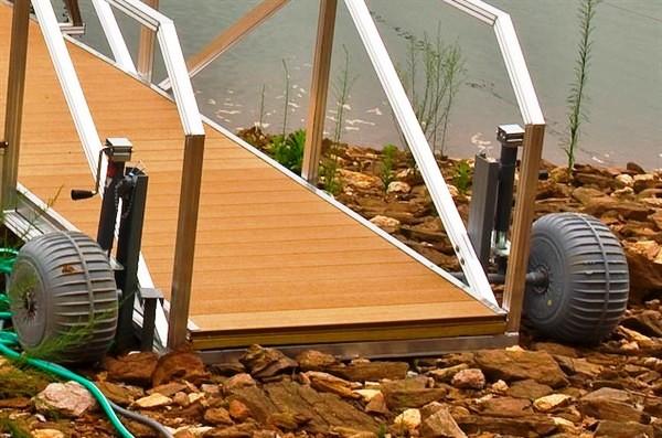 wheel assembly, dock wheels, dock ramp with wheels, rip raft, dredging, erosion control