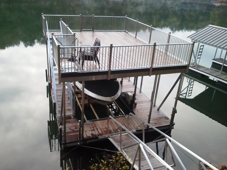 IPE flooring, aluminum double decker dock, party deck, dock with a party deck