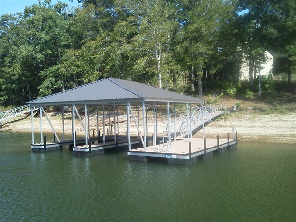 double slip dock, swim ladder, hip roof, Lake Hartwell