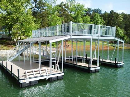 aluminum double slip dock, floating dock, sundeck roof, removable dock section