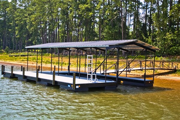 side entry dock, lake secession, steel I-beam construction, boat docks