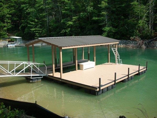 sloped ladder, dock box, party deck, extended deck, lake living
