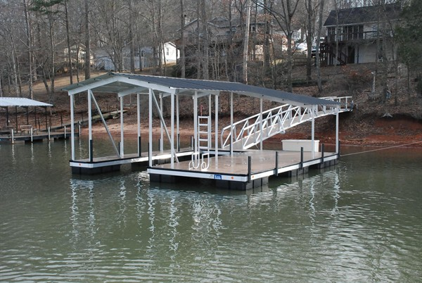 gable roof, pvc decking, single slip dock, boat docks
