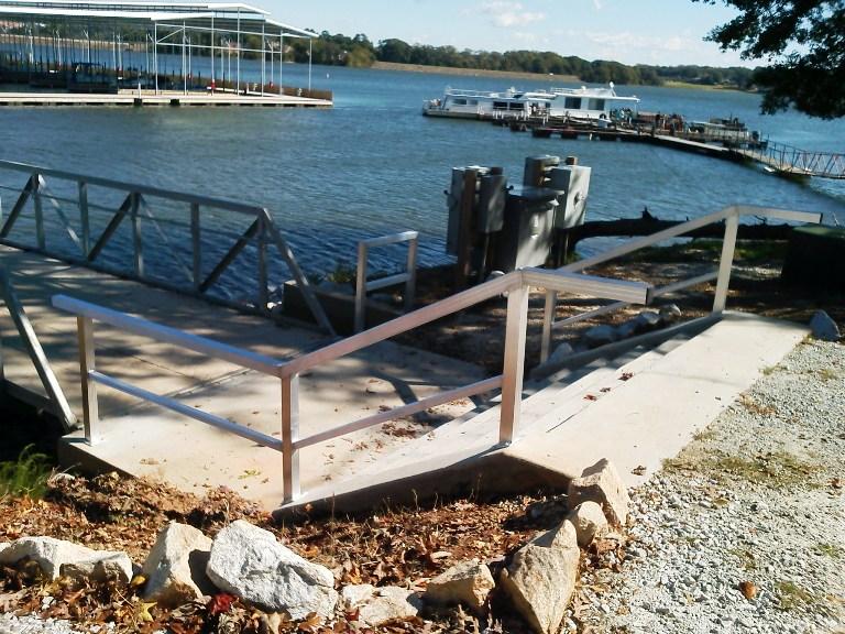 custom aluminum hand rails, clemson marina, clemson sc, clemson boat docks