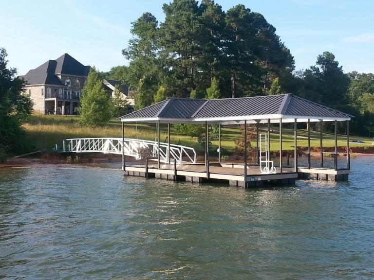 boat dock, lake keowee boat docks, fiberon composite decking, steel boat dock