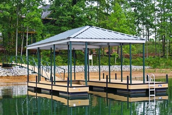 hip roof, single slip dock, floating dock, boat docks