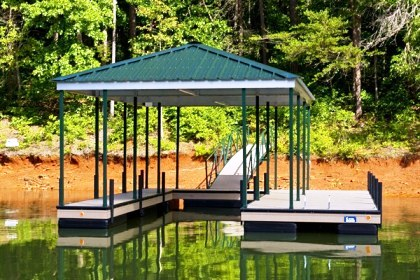 single slip, floating dock, custom dock, hip roof