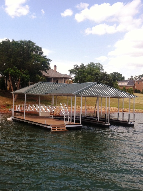 aluminum boat dock, permaport, fiberon composite decking, aluminum swim ladder, fiberglass dock box