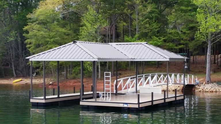 steel boat dock, aluminum walkway, boat dock, custom, dock accessories
