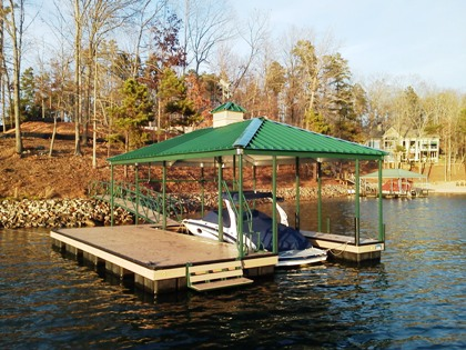 Lake Keowee, cupola, weathervane, swim bench, boat house, custom dock