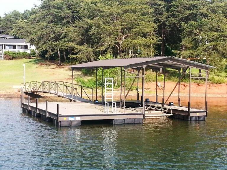 steel boat dock, custom built boat dock, single slip boat dock, dock walkway gate