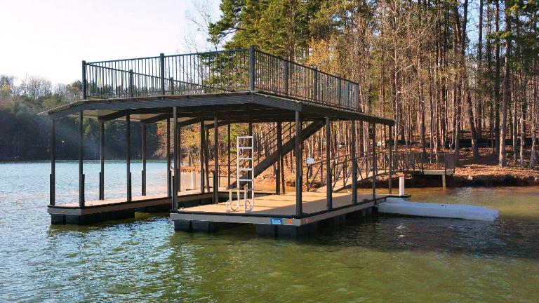 double decker dock, steel boat dock with party dock, aluminum construction