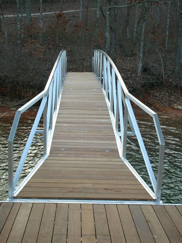 ramp with ipe decking, flared ramp, flared walkway, flared gangwalk