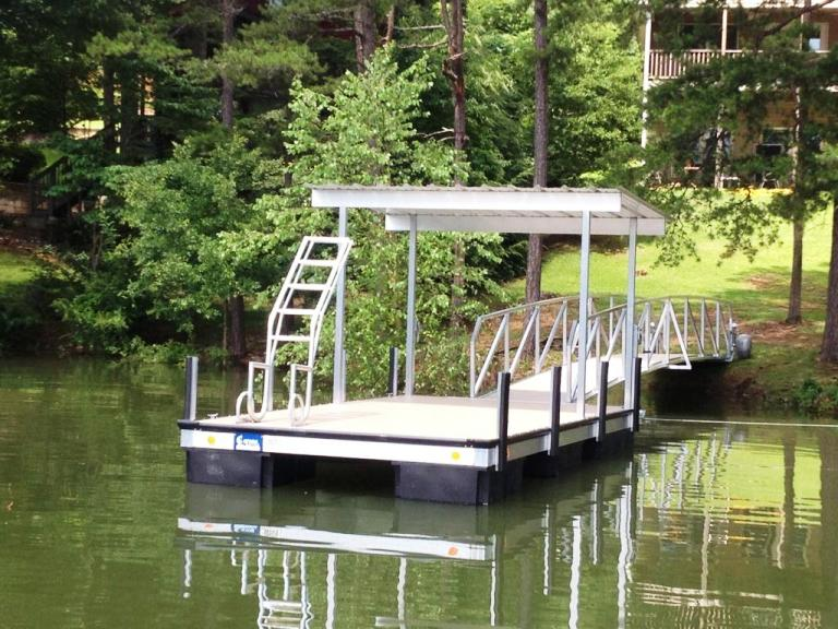 shaded platform floating dock, floating platform dock, swim ladder, aluminum dock