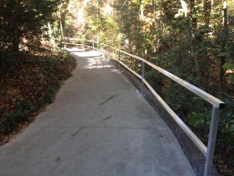 walkng trail handrails, custom fabricated handrails, aluminum handrails, handrails