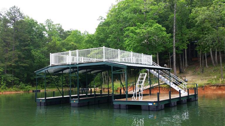 party deck, lake living, custom boat dock, steel boat dock