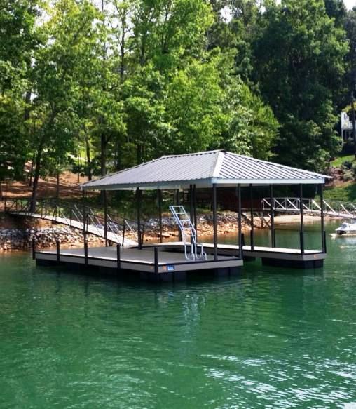 Lake keowee steel docks, steel boat dock, fiberon decking