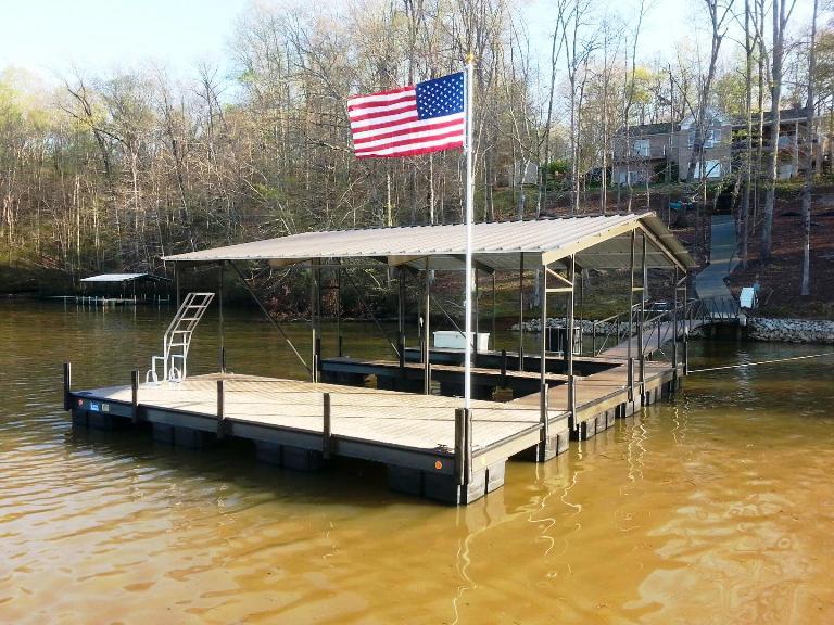 steel boat dock, steel double slip dock, custom built dock, boat docks