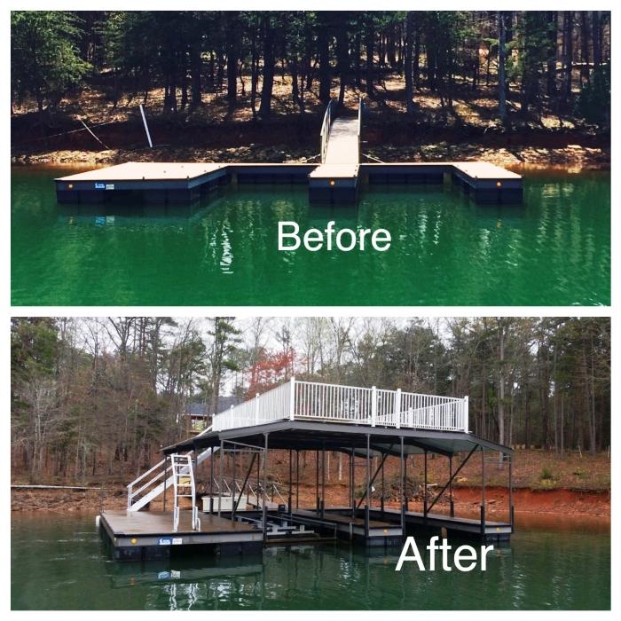 dock repairs, dock restoration, aluminum boat dock, party deck, double decker dock