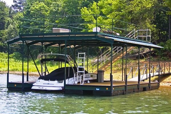 sundeck roof, single slip steel dock, boat docks, lake thurmond