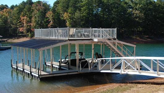 gable roof, sundeck roof, party deck, suntan deck, double decker dock