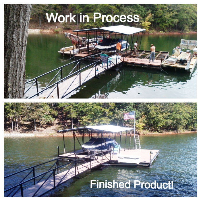 dock upgrades, dock box, flag pole, swim ladder, PVC flooring