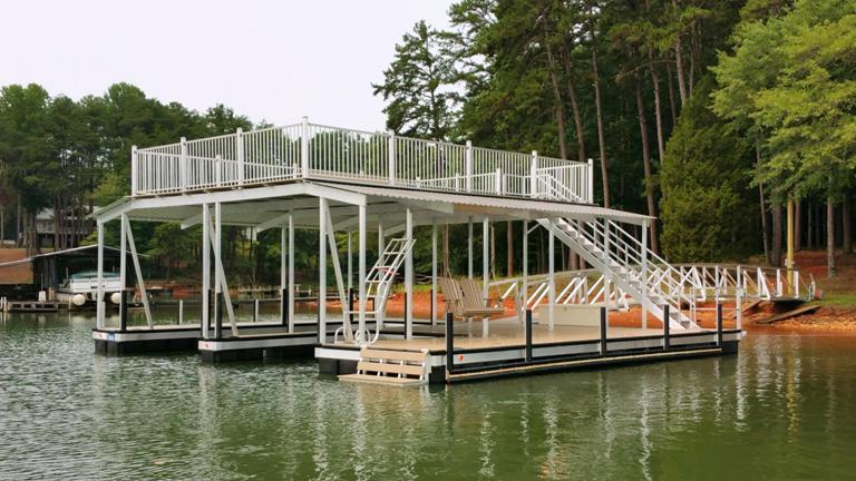 aluminum boat dock, party deck boat dock, lake living, lake hartwell