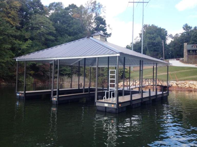 steel boat dock, floating steel dock, boat docks, PVC flooring, hip roof