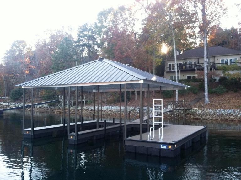 steel boat docks lake keowee, custom built docks on lake keowee, double slip steel dock